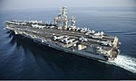 The aircraft carrier USS Nimitz (CVN 68) travels in the Persian Gulf Aug. 13, 2013 130813-N-IB033-143.jpg