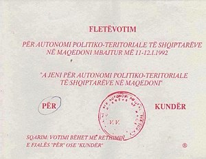 Republic of Ilirida - A ballot from the referendum for autonomy of Albanian Macedonians