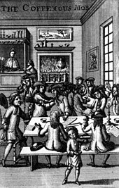In a windowed room, with a large fire blazing in the background, two long tables accommodate groups of men engaged in apparent discussion.  Other men sit reading and smoking pipes, backs to the viewer.  In the foreground, a small serving boy pours coffee from a container into a cup.  In the distance, next to the fireplace, a woman serves from a hatch.