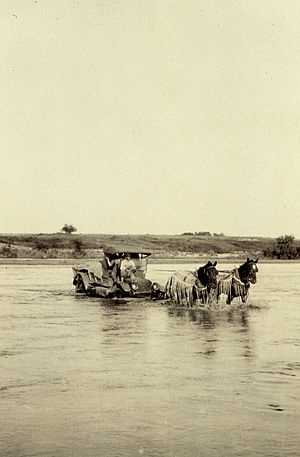 Ford (crossing) - Crossing the Red River near Granite, Oklahoma in 1921