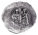 Electrum coin depicting Theodore (left) and his patron, St. Demetrius