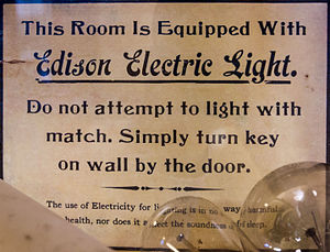 Electric light - Sign with instructions on the use of light bulbs