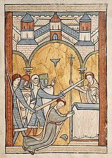 murder in the cathedral  thirteenth century manuscript illumination depicting becket s assassination