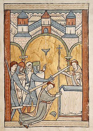 Murder in the Cathedral - Thirteenth-century manuscript illumination depicting Becket's assassination
