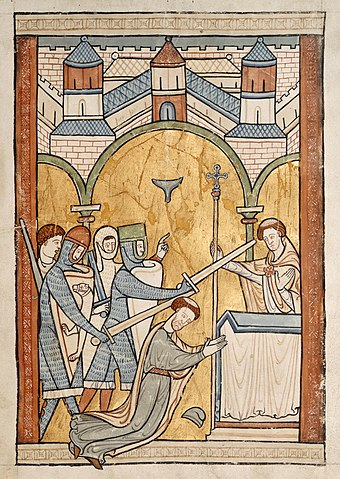 13th-century depiction of the death of Thomas Becket Thomas Becket Murder.JPG