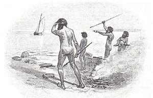 "Thomas Pamphlett - ""The finding of Pamphlett"", by J.R. Ashton, in A. Garran (ed.), Picturesque Atlas of Australasia, 1886"
