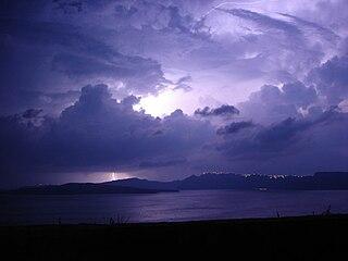A thunderstorm above Santorini