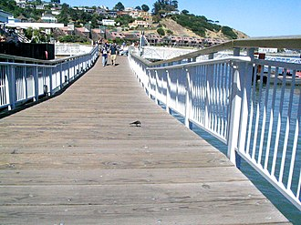 Tiburon is the nearest mainland point to Angel Island and a regular ferry service from the Tiburon Ferry Terminal connects to the island Tiburon pier.jpg