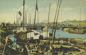 Concessions in Tianjin - View of the Peiho River and Chin-Tang Bridge of the Austro-Hungarian Concession.