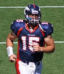 cf991f3c8 Tebow during warm-ups with the Denver Broncos at Sports Authority Field at  Mile High in 2010