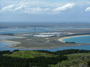 Tiwai Point Aluminium Smelter - Tiwai Point Aluminium Smelter as seen from the top of Bluff Hill