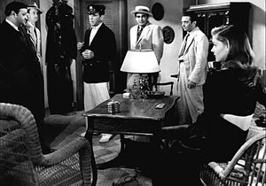 To Have and Have Not (film) - Left to right: Dan Seymour, Aldo Nadi, Humphrey Bogart, Sheldon Leonard, Marcel Dalio and Lauren Bacall in To Have and Have Not