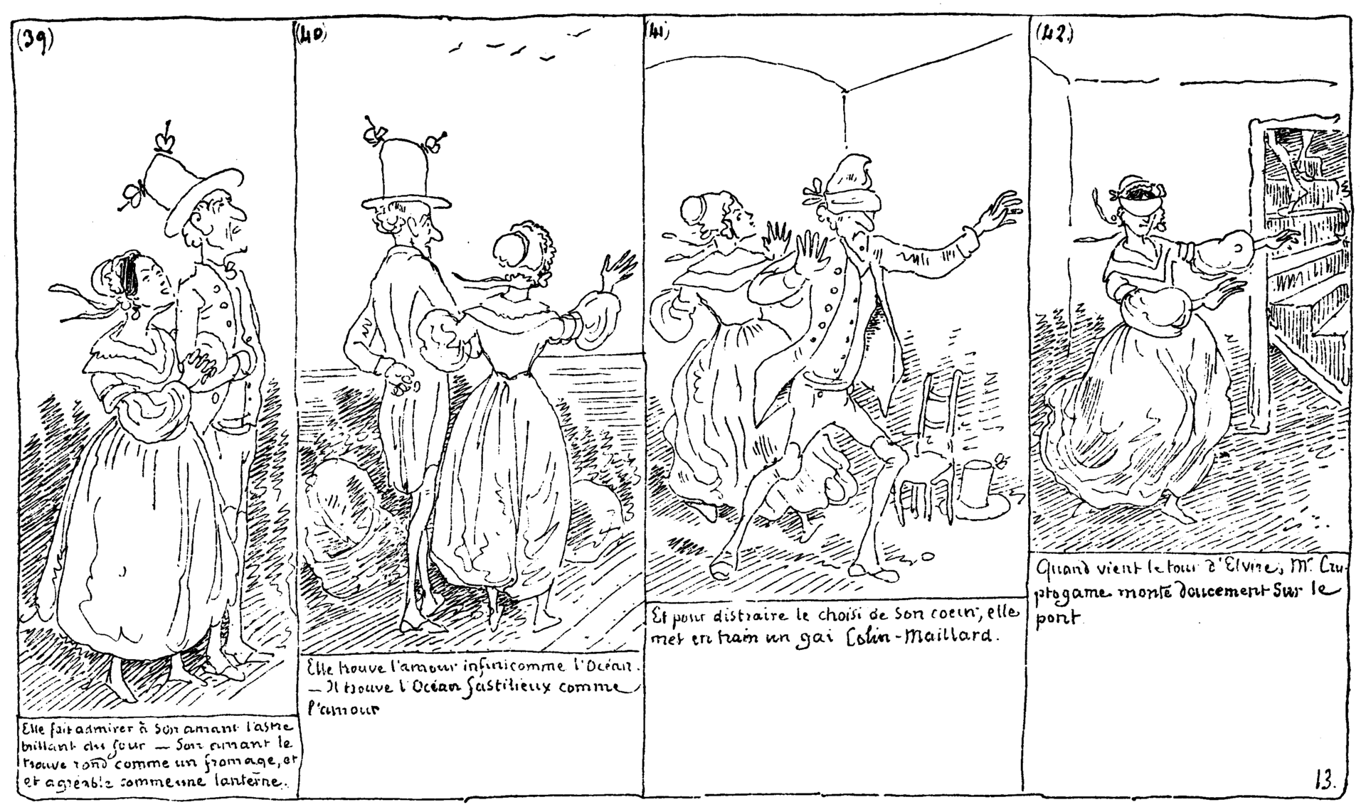 Plate 13 of the book Histoire de Monsieur Cryptogame by Rodolphe Töpffer (1830)