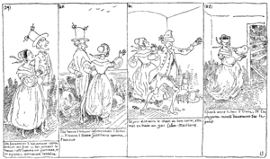 "Text comics - ""Histoire de Monsieur Cryptogame"" (1830) by Rodolphe Töpffer, an early example of a text comic. Notice the text underneath the images."