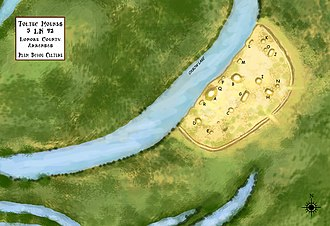 Toltec Mounds Archeological State Park - Illustrated overview of the site