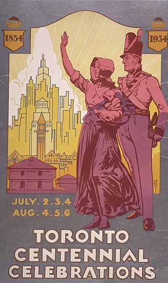 Centennial of the City of Toronto - A poster advertising centennial events in July and August.