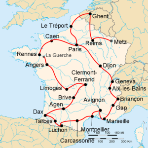 Route of the 1951 Tour de FranceFollowed counterclockwise, starting in Metz and finishing in Paris