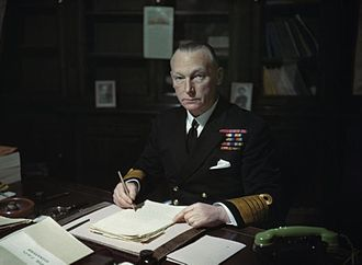 John Tovey, 1st Baron Tovey - Admiral of the Fleet Sir J C Tovey at his desk, most likely while serving as Commander in Chief Nore, at Chatham, Kent