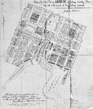 Akron, Ohio - Original town plot of Akron