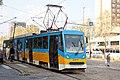 Tram in Sofia near Russian monument 051.jpg