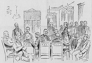William Ansel Kinney - The 1895 trial in former {{okina}}Iolani Palace throne room; Kinney seated at far right
