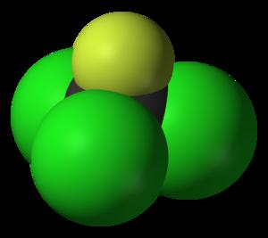 Trichlorofluoromethane - Image: Trichlorofluorometha ne 3D vd W