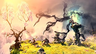 Trine 2 - Zoya and Pontius battle a shaman in this scene from the Cloudy Isles chapter, part of the Goblin Menace expansion.