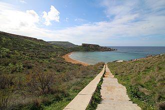 Għajn Tuffieħa - A view over the Tuffieha Bay in Malta.