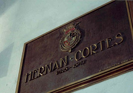 Tomb of Cortes in the Hospital de Jesus Nazareno, which he founded in Mexico City. Tumba de Cortes.JPG