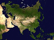 Location of Asia on the physical map of the World.