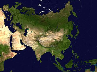 Eurasian Steppe - A map of Eurasia with emphasis on deserts. Note the oval Tarim Basin at the center of the map.