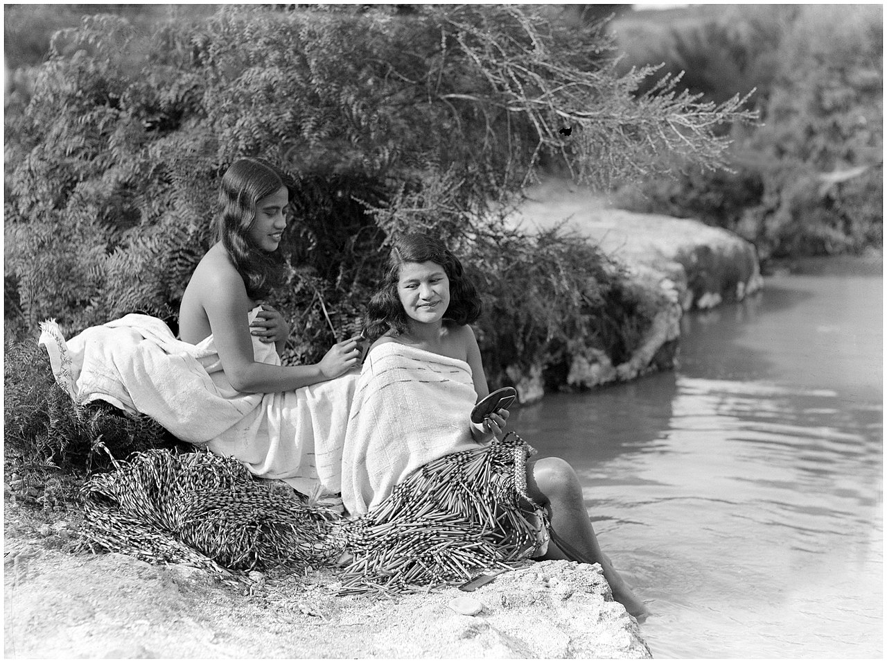 File:Two Maori women bathing at the Waikato River, 1938 ...