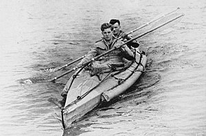 Amphibious reconnaissance - Two canoeists in a COPP (Combined Operations Pilotage Parties) canoe