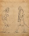 Two men exhibiting postures which express their character; o Wellcome V0009090.jpg