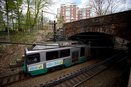 With nearly a quarter million riders served each day, Boston's MBTA Green Line is the second-busiest light rail system in the United States. Type 8 under Longwood Avenue bridge.jpg