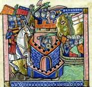 Tyre being blockaded by the Venetian fleet and besieged by Crusader knighthood