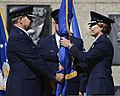 U.S. Air Force Lt. Gen. Michelle Johnson, right, takes the U.S. Air Force Academy guidon from Gen. Mark A. Welsh III, the chief of staff of the Air Force, during a change of command ceremony and retirement 130812-F-ZJ145-634.jpg