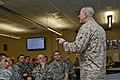 U.S. Marine Corps Sgt. Maj. Bryan B. Battaglia, the senior enlisted adviser to the chairman of the Joint Chiefs of Staff, speaks to U.S. Soldiers and Airmen with the Illinois National Guard at the 182nd Airlift 130406-Z-EU280-074.jpg