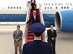 U.S. Secretary of State John Kerry arrives at Andrews Air Force Base after his 10-day trip to Istanbul, Jerusalem, Ramallah, London, Tokyo, Seoul, and Beijing on April 15, 2013.jpg