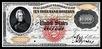 $10,000 Gold Certificate proof, Series 1875, Fr.1166l, depicting Andrew Jackson