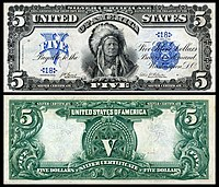 $5 Silver Certificate, Series 1899, Fr.271, depicting Running Antelope