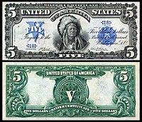 Certificado de Prata de $ 5, Série 1899, Fr.271, representando o Antílope Correndo