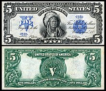 $5 Series 1899 silver certificate depicting Running Antelope