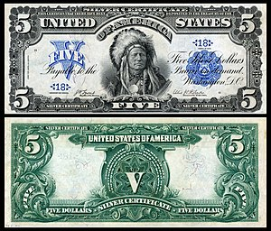 Running Antelope - Running Antelope depicted on the 1899 $5 Silver Certificate.