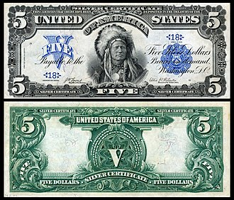 Silver certificate (United States) - $5 Series 1899 silver certificate depicting Running Antelope of the Sioux.