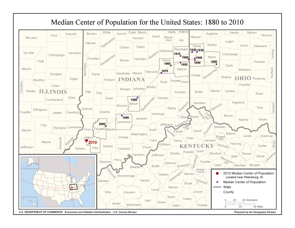 Median Center Of United States Population Wikipedia - Us population centers map
