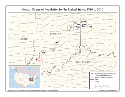 Median Center Of United States Population Wikipedia - Map of population centers us