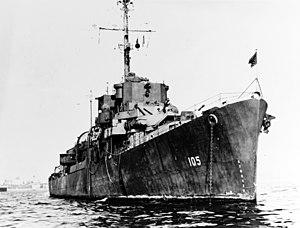 USS Burrows (DE-105) at anchor, circa 1945-1946 (NH 73273)