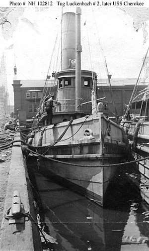 Luckenbach Number 2 (American Tug, 1891) In port, probably when inspected by the Third Naval District in 1917. This tug, owned by the Luckenbach Steamship Company and originally named Edgar F. Luckenbach, was taken over by the Navy on 12 October 1917 and placed in commission on 5 December 1917 as USS Cherokee (SP-458). She foundered at sea on 26 February 1918, while en route from Newport, Rhode Island, to Washington, D.C.