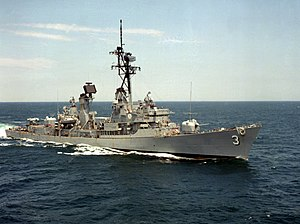 USS John King (DDG-3) underway in the Atlantic Ocean, in 1983 (6439746).jpg
